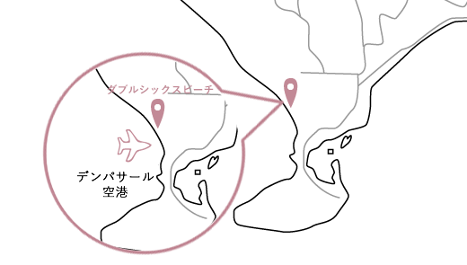 ダブルシックスビーチロケーションマップ